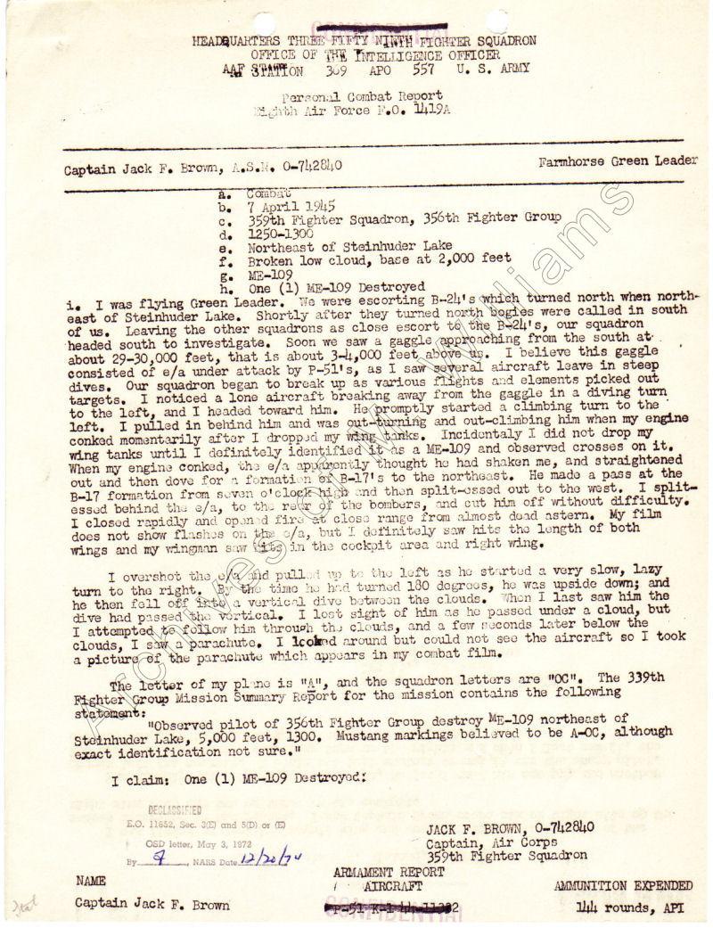 Jack F. Brown, 7 April 1945, ...